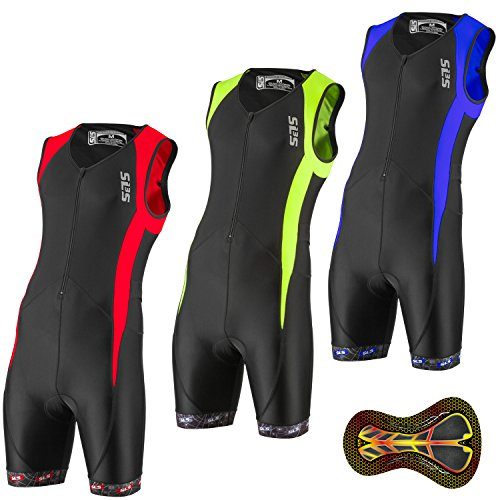 Men`s Triathlon Tri Race Suit - 2 Pockets Skinsuit Trisuit - Great Fit And Comfortable - Ideal From Sprint To Ironman (Black/Red, XL)