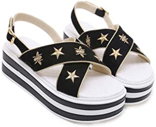5.5 cm épais-fond broderie sandales muffin chaussures femmes pompe ouverte orteil d'orsay chaussures à lacets chaussures décontractées colormatch ceinture boucle rome chaussures OL cour chaussures uu taille 34-40