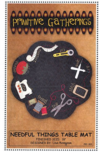 Needful Things Table Mat Quilt Pattern, Homespun, Wool, Fusible Applique, Finished Size 18