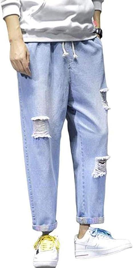 [ウンセン]メンズ ジーンズ ダメージ デニムパンツ ゆったり カジュアル ストレートパンツ 大きいサイズ 切り替え ロングパンツ ウォッシュ加工 ズボン ファッション デニム