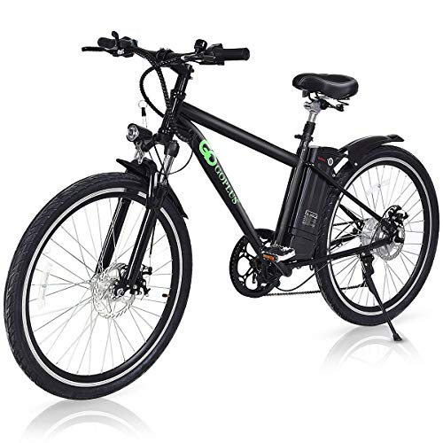 """Goplus 26"""" 250W Electric Bicycle Mountain Bike E-Bike Up to 22 Miles Range with Variable Speed, Removable 36V Lithium Battery and Cup Holder"""