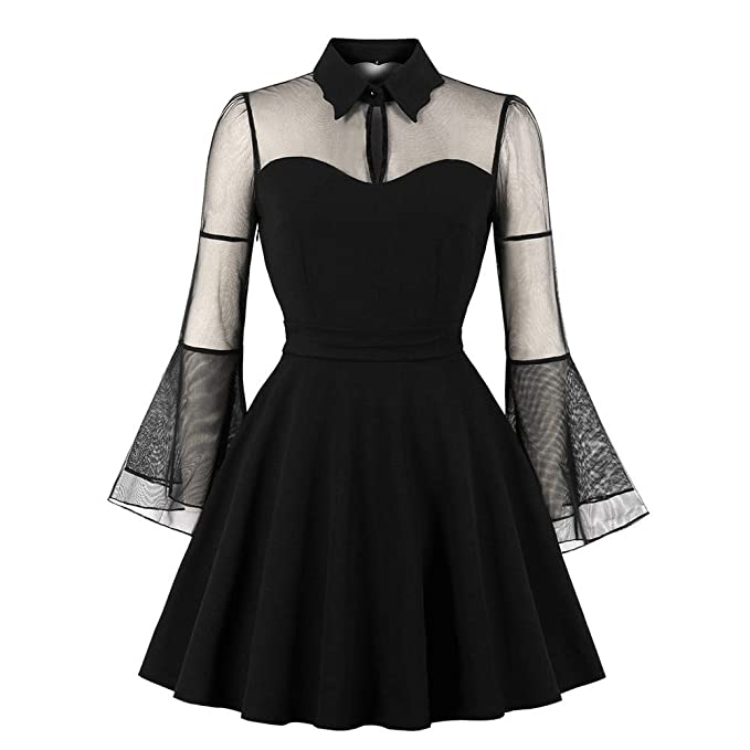 5a385dd24f9 Image Unavailable. Image not available for. Color  Women Vintage Dresses  Solid Color Punk Party Gothic ...