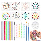 Set of 24 Mandala Dotting Tools Including Acrylic Rods, Double Tips Ball Stylus Pens, Paint Tray, Stencils and Paint Brushes for Rock Painting,Kids' Crafts, Nail Art