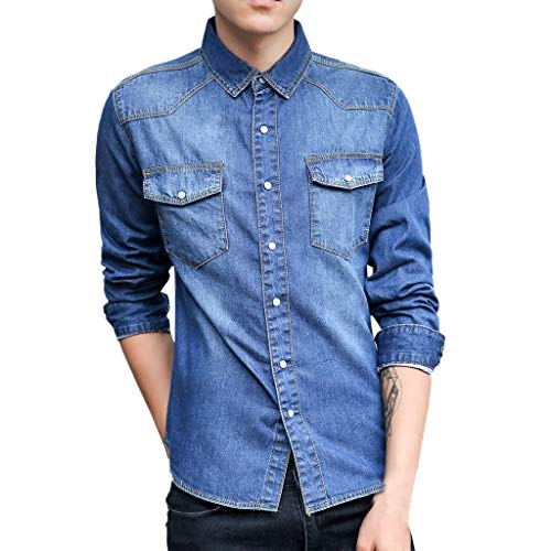 Pervobs Men's Spring Autumn Casual Long Sleeve Plus Size Pockets Denim Shirts Top Blouse(US size 2XL = Tag 3XL, Dark Blue)