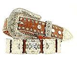 Nocona Women's Croc Print Square Conchos Belt, Brown, S