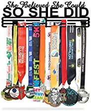Sports Medal Holder Display Hanger Rack Frame SHE Believed Stainless Steel Sturdy Wall Mount Over 60 Medals Ea