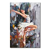 Everfun Canvas Wall Art Girl Dancer Hand Painted Oil Painting Modern Ballet Dancing Abstract White Skirt Artwork Decor Framed Home For Living Room Stretched