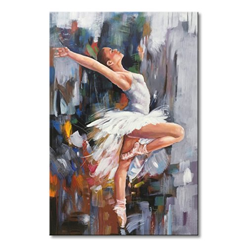 (EVERFUN ART Ballet Dancer Modern Artwork Hand Painted Abstract Oil Paintings on Canvas Wall Art Girl Dancing Contemporary Framed Ready to Hang for Home Decoration)