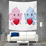 Anniutwo Elephant Nursery Wall Hanging Tapestries Pink and Blue Kid Infant Elephants Holding Hearts Smiling Twins Large tablecloths 63W x 63L Inch Pale Pink Blue White