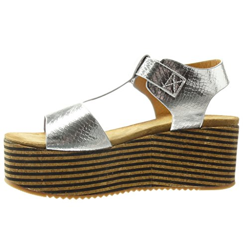 Angkorly - Zapatillas de Moda Sandalias Mules correa zapatillas de plataforma mujer corcho líneas tanga Talón Plataforma 7 CM - Plata