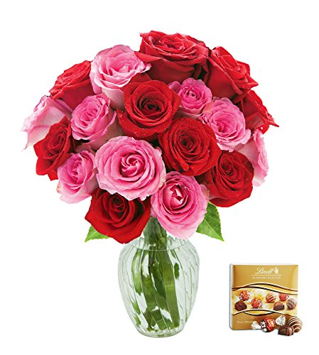 KaBloom Cupid's Roses Romantic Bouquet of 9 Red Roses and 9 Pink Roses (Long Stemmed) with Vase and One Box of Lindt Chocolates by KaBloom