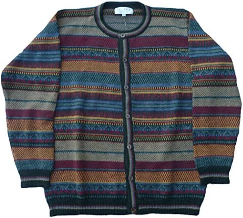 アルパカ100% カーディガン 男性 幾何学柄 ペルー製 インカ ALCA-048