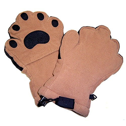 BearHands ThinsulateTM Fleece Mittens - with handy flap opening for when fingers are needed! (Adult Small) - Camel