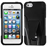 For iPhone 5S / 5 Black Inverse Advanced Armor Stand Protector Cover - LIFETIME WARRANTY