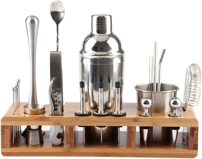 Yuciya Coctelería Set, Set de Coctelera Set de Herramientas de Barra de Acero Inoxidable Kit de Barman con Elegante Soporte de Bambú