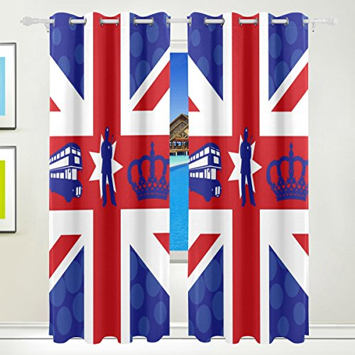 LEISISI UK Flag Blackout Curtains Darkening Thermal Insulated Polyester Grommet Top Blind Curtain for Bedroom, Living Room,2 Panels 55W x 84L Inch (Best Blackout Blinds Uk)