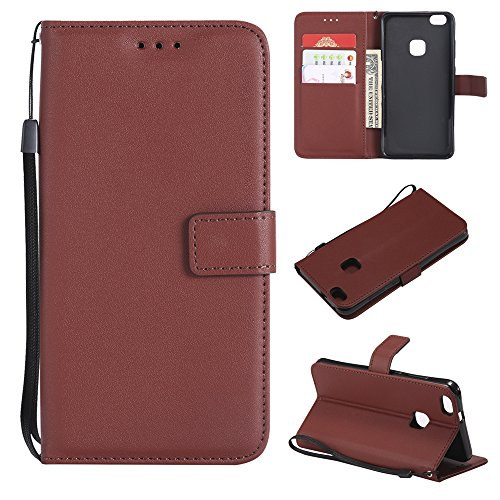 (Scheam Huawei P10 Lite Case, Huawei P10 Lite Leather Wallet Case Book Design with Flip Cover and Stand [Credit Card Slot] Cover Case Compatible with Huawei P10 Lite - Coffee)