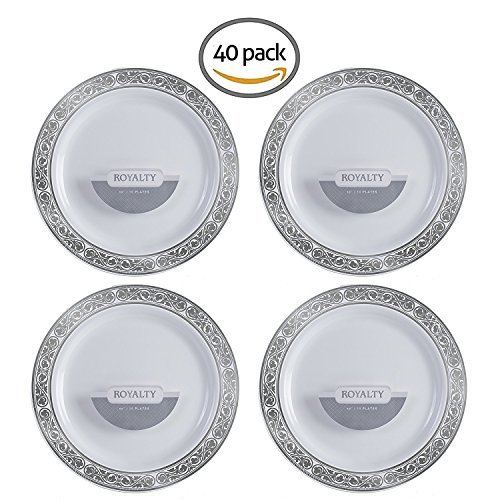 Disposable Plastic Plates | Heavy Duty & Premium Quality White Dinnerware With Silver Rim | Excellent for Weddings, Baby & Bridal Showers, Engagement Parties & More | 10 Inches Plate | 40 Count