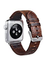 Apple Watch Band,MaKer Crazy-Horse leather, Vintage Genuine Leather bracelet with Metal Clasp,Replacement band for iWatch Series 2 & 1---[38mm,Dark Bworn]
