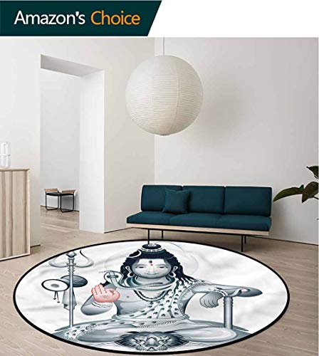 - RUGSMAT Yoga Modern Round Abstract Area Rug,Supreme Figure Meditation Printed Round Carpet for Children Bedroom Play Tent Round-71