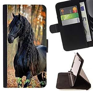 - Horse Cute - - Monedero PU titular de la tarjeta de cr?dito de cuero cubierta de la caja de la bolsa FOR LG G2 D800 Retro Candy