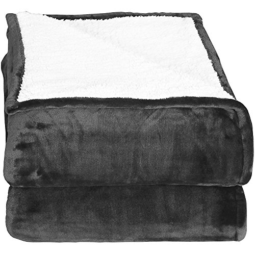 Sherpa Flannel Fleece Reversible Blankets (Throw)- Grey - Extra Soft Brush Fabric, Super Warm Bed Blanket, Lightweight Cozy Couch Blanket, Easy Care - by Utopia Bedding (Throw Bedding)