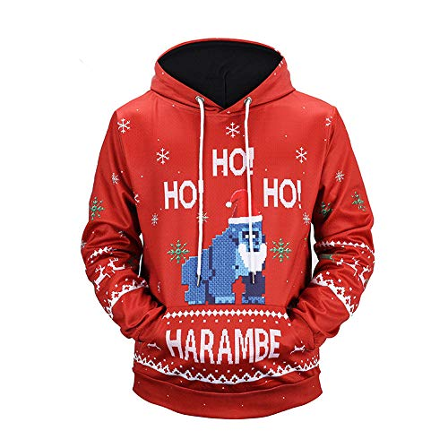 GOVOW Men Christmas Sweater Ugly Plus Size-3D Pullover Long Sleeve Hooded Sweatshirt Tops Blouse(US:8/CN:L,Red-A)