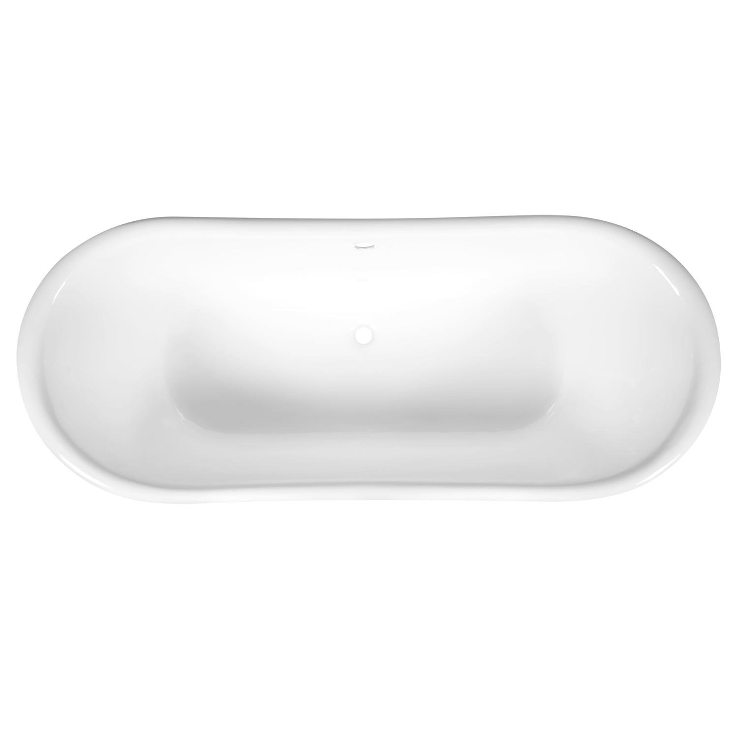 Signature Hardware 394539 Langly 72 Cast Iron Double Slipper Pedestal Tub with 7 Rim Holes