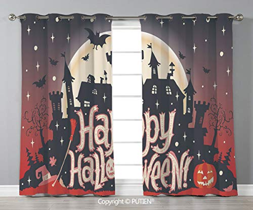 Grommet Blackout Window Curtains Drapes [ Halloween,Medieval Gothic Castle with Happy Halloween Typography Stars Bats Moon Cheerful,Multicolor ] for Living Room Bedroom Dorm Room Classroom Kitchen Caf -