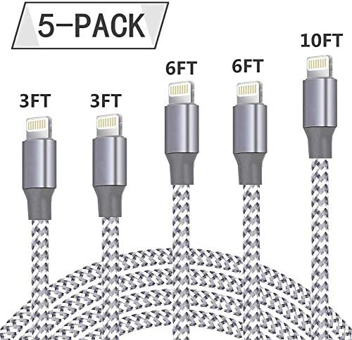 iPhone Charger, SentGa 5Pack 3FT 3FT 6FT 6FT 10FT Nylon Braided Lightning Cable Charging Cord USB Cable Compatible with iPhone 11 Pro Max XS XR X 8 7 6S 6 Plus SE 5S 5C 5 iPad
