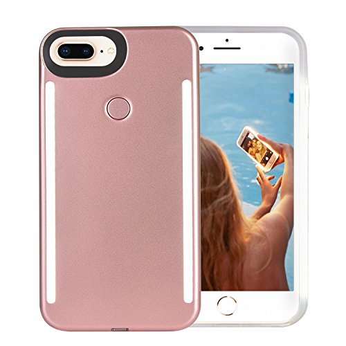 iPhone 8 Plus Case, iPhone 7 Plus Case, iPhone 6/6s Plus Case, Wellerly LED Illuminated Selfie Light Up [Rechargeable] Luminous Flashlight Cellphone Case Cover for iPhone 8/7/6/6s Plus -Rose Gold