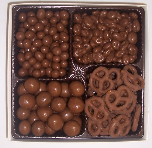 Scott's Cakes Large 4-Pack Chocolate Pretzels, Chocolate Malt Balls, Chocolate Peanuts, & Chocolate Raisins
