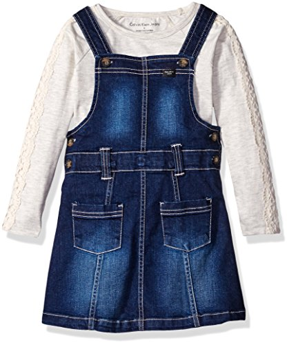 Calvin Klein Little Girls' Denim Jumper with Tee Set, Oatmeal, 4