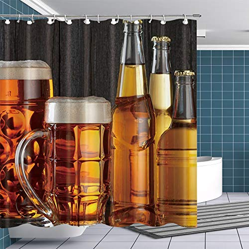 Btty Shower Curtain Beer for Bathroom,Polyester Waterproof Bathroom Curtain with Hooks for Bathroom Showers, Stalls and Bathtubs, 69x70 Inches (Beer Shower Curtain)