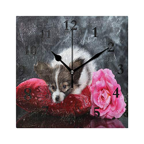 FunnyCustom Square Wall Clock Papillon Puppy of Pink Flowers 7.8 Inch Creative Decorative for Living ()