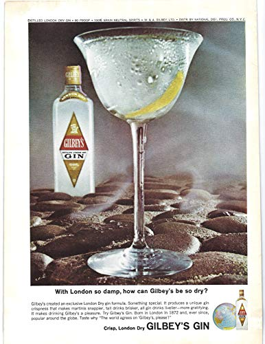 1964 Vintage Print Ad for Gilbey's Gin | London so Wet How can Gilbey's be Dry