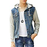 Product review for DAVID.ANN Men's Casual Denim Patchwork Hooded Jacket