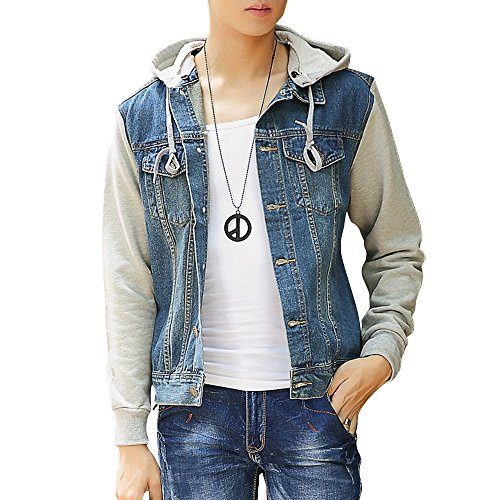 DAVID.ANN Men's Casual Denim Patchwork Hooded Jacket