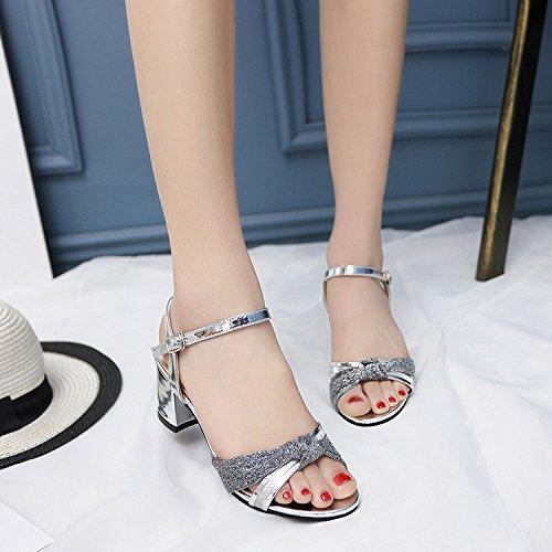 Verano Mujer zapatos de cuero Sandalia de verano boca de pescado,39 nude Silver