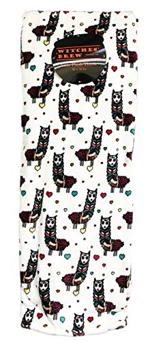 Day of The Dead Colorful Sugar Skull Llamas Decorative Holiday Luxe Velour Plush Throw Blanket 50