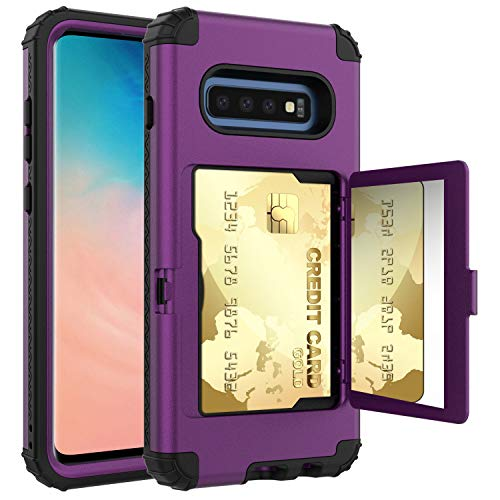 TabPow Galaxy S10 Case, Hidden Door Slim Phone Wallet Case, Fits 2 Cards and Cash, Reinforced Drop Bumper Protection, Open Mirror, Front Frame Screen Protection - Purple