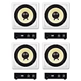 Acoustic Audio HD-S10 in Wall 10' Home Theater Passive Subwoofers 4 Speaker and 4 Amplifier Set