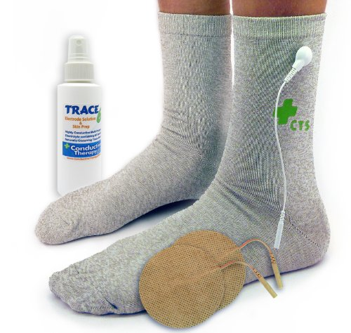 Premium Conductive Socks Pair Package for TENS Pain Treatment, Earthing, Tarsal Tunnel, Inflammation, Arthritis, Nerve and Joint Pain Electrotherapy (1 Pair - Silver Thread - One Size Fits Most)