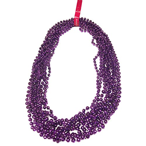 Elite Choice Purple Beaded Party Necklace - 12 Play Necklaces Per Pack for Parties, Costumes, Tailgating and Parades (Purple)