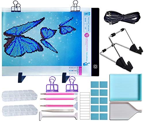 Diamond Painting Light Pad Board-Design for Rhinestone Embroidery,Crystal Cross Stitch,Drawing,Sketching,Painting,Tracing,Full Drill & Partial Drill Painting-Ultra Thin Dimmable A4 LED Light Box by Aurora Gadgets