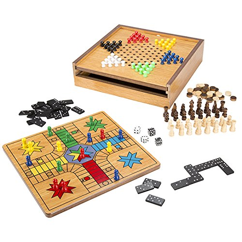 Deluxe 7-in-1 Wood Combo Table Game Set with Bonus Deck of Cards - Includes Chess, Chinese Checkers, Ludo, Backgammon, Dominos and More!