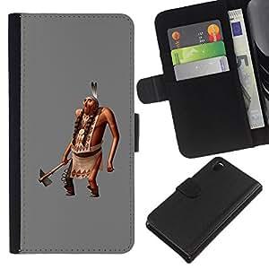 A-type (Man Figurine 3D Ax Feathers) Colorida Impresión Funda Cuero Monedero Caja Bolsa Cubierta Caja Piel Card Slots Para Sony Xperia Z3 D6603