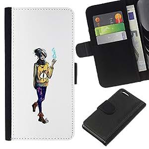 KLONGSHOP // Tirón de la caja Cartera de cuero con ranuras para tarjetas - Emo fumadores Chica - Apple Iphone 5C //