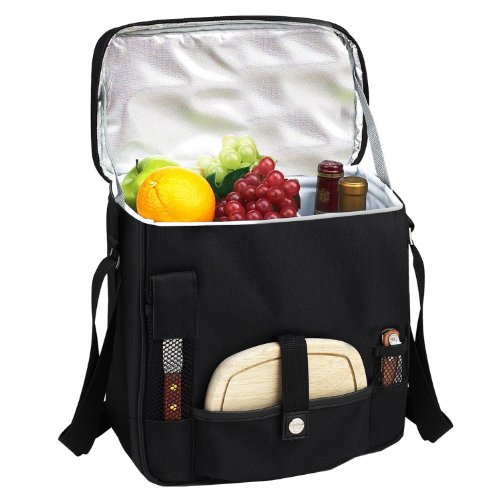 Picnic at Ascot Wine and Cheese Picnic Basket/Cooler with hardwood cutting Board, Cheese Knife and Corkscrew – Black