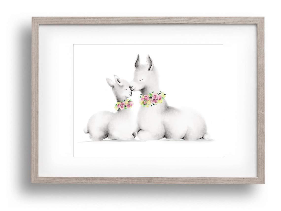 Mama and Baby Art Unframed Print Boho Nursery Wall Decor Llama Nursery Print